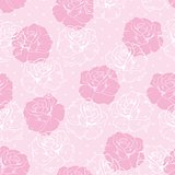 Seamless vector floral pattern with pink and white roses on sweet baby pink background.