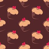 Seamless vector pattern background with big chocolate brown cupcakes, muffins, sweet cake and red heart on top