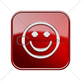 Smiley Face glossy red, isolated on white background