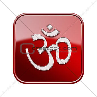 Om Symbol icon glossy red, isolated on white background