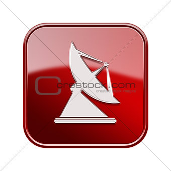 Antenna icon glossy red, isolated on white background