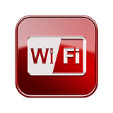 WI-FI icon glossy red, isolated on white background