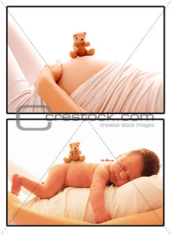 one  newborn little baby and pregnant woman belly