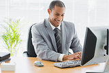 Smiling businessman using computer at office