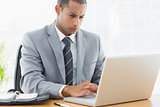 Concentrated businessman using laptop at office