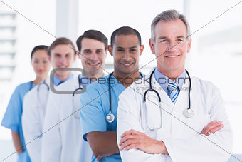 Doctors standing in a row at hospital