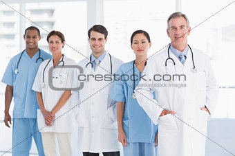 Portrait of doctors in a row at hospital