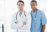 Confident doctors standing together in the hospital