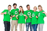 People in recycling symbol tshirts pointing to themselves
