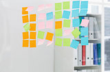 Closeup of colorful sticky notes at office