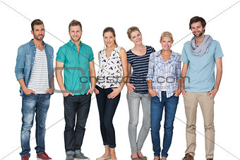 Portrait of casual happy people with hands in pockets
