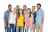 Portrait of casual cheerful people over white background