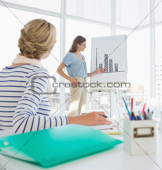 Casual businesswoman presenting new project
