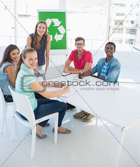 Portrait of a team having meeting about eco policy