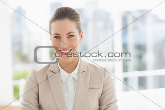 Closeup portrait of a young businesswoman smiling