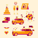 Icon set for a wedding celebration