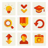 set of icons of education