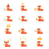 set of icons with a red fox