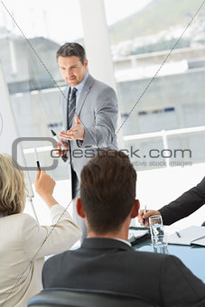 Business people in office at presentation