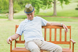 Relaxed senior man on bench at park