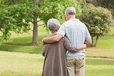 Rear view of senior couple with arms around at park