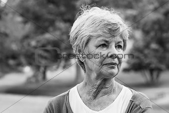 Senior woman looking away at park