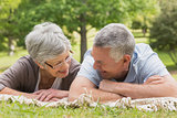 Senior couple lying at the park