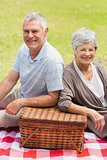 Smiling senior couple with picnic basket at park