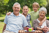 Senior couple and granddaughter with picnic basket at park