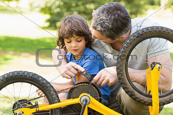 Father and son fixing bike