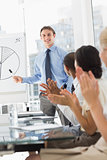 Businessman being applauded for his presentation
