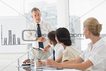 Business manager talking to staff during meeting