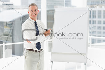 Smiling businessman standing at whiteboard with marker