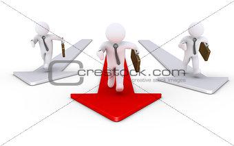 Three businessmen running on arrows