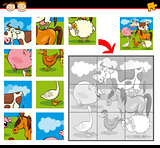 cartoon farm animals jigsaw puzzle