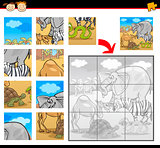 cartoon safari animals jigsaw puzzle