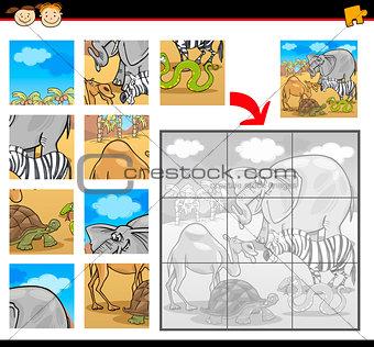 cartoon safari animals jigsaw puzzle