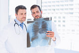 Male doctors examining xray in medical office