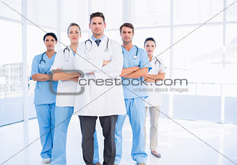 Portrait of serious confident group of doctors