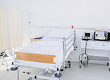 Empty bed in the hospital room