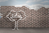 Idea tree doodle against brick wall background