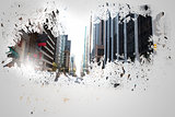 Splash on wall revealing cityscape