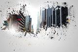 Splash on wall revealing cityscape