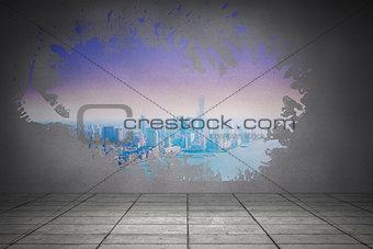 Splash on wall revealing purple and blue city