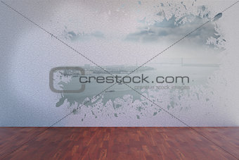 Splash on wall revealing coastline