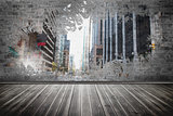 Splash on wall revealing city