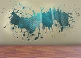 Splash on wall revealing technology graphic