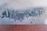 Splash on wall revealing city view