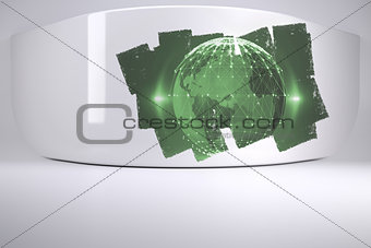 Abstract screen in room showing earth graphic