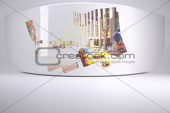 Abstract screen in room showing city